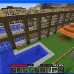 Minecraft pool backside parasols